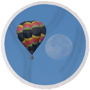 Moon And Balloon Round Beach Towel