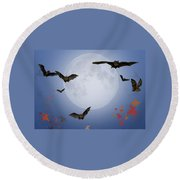 Moon And Bats Round Beach Towel