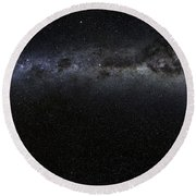 Moon And Galaxy. Round Beach Towel