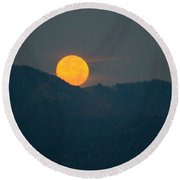 Moon And Mountains Round Beach Towel