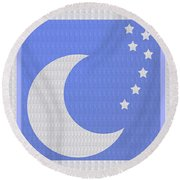 Moon And Stars With Crystal Stone Healing Energy Plates By Side Navinjoshi Rights Managed Images For Round Beach Towel
