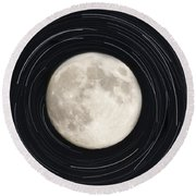 Moon And Startrails Round Beach Towel