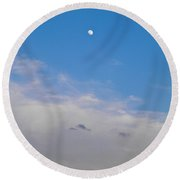 Moon And Sunset Round Beach Towel