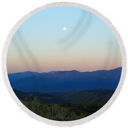 Moon And The Tetons Round Beach Towel
