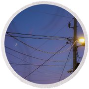Moon And Wires Round Beach Towel