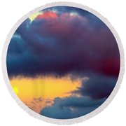Moon At Sunset  Round Beach Towel
