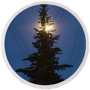 Moon Behind Spruce Round Beach Towel