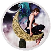 Moon Fairy Round Beach Towel