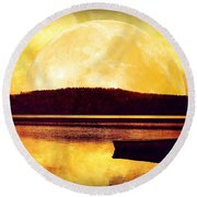 Moon Landscape Round Beach Towel