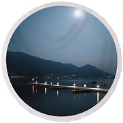 Moon Light And A Port Round Beach Towel