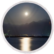 Moon Light Over A Lake Round Beach Towel