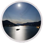 Moon Light Reflected Over An Alpine Lake Round Beach Towel
