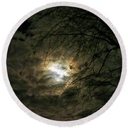 Moon Light With Clouds Round Beach Towel