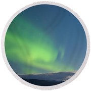 Moon-lit Clouds Northern Lights Over Lake Laberge Round Beach Towel
