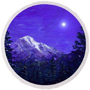 Moon Mountain Round Beach Towel