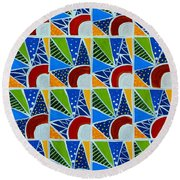 Moon - Mountains - Borealis - Quilt Painting Round Beach Towel