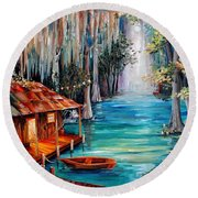 Moon On The Bayou Round Beach Towel