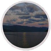 Moon On The Lake Round Beach Towel