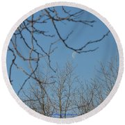 Moon On Treetop Round Beach Towel