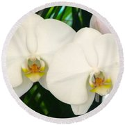 Moon Orchid Pair Round Beach Towel