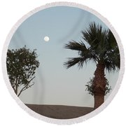Moon Over Baja Desert Round Beach Towel