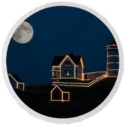 Moon Over Cape Neddick Round Beach Towel by Guy Whiteley
