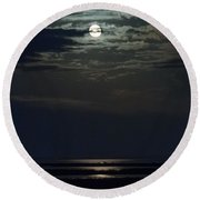 Moon Over Core Sound Round Beach Towel