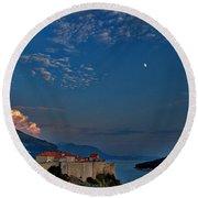 Moon Over Dubrovnik's Walls Round Beach Towel