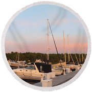 Moon Over Egg Harbor Marina Round Beach Towel