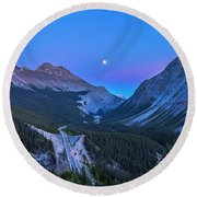 Moon Over Icefields Parkway Round Beach Towel