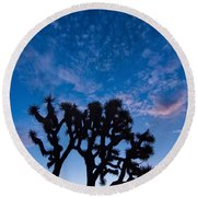 Moon Over Joshua - Joshua Trees During Sunrise In Joshua Tree National Park. Round Beach Towel