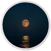 Moon Over Lake Of Shining Waters Round Beach Towel