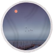 Moon Over Lake Mille Lacs Round Beach Towel