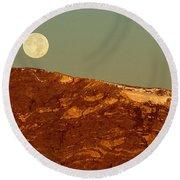 Moon Over Mount Ida Round Beach Towel