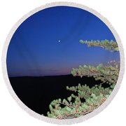 Moon Over Mountain Round Beach Towel