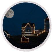 Moon Over Nubble Light Round Beach Towel
