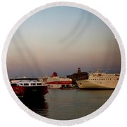 Moon Over Piraeus Port Round Beach Towel