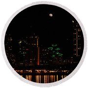 Moon Over San Diego Round Beach Towel