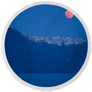 Moon Over Santorini Round Beach Towel by Brian Jannsen