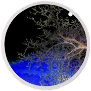 Moon Over Sapphire Pond Round Beach Towel