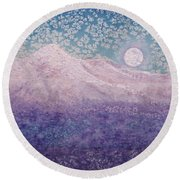 Moon Over Snowy Peaks Round Beach Towel
