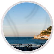 Moon Over The Bay Round Beach Towel