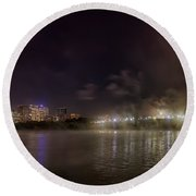 Moon Over The Bridge Round Beach Towel