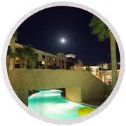 Moon Over The Casino Round Beach Towel