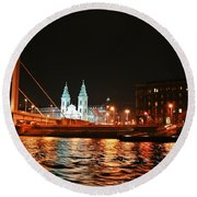 Moon Over The Danube Round Beach Towel