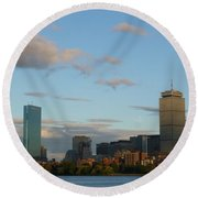 Moon Over The Prudential In Boston Round Beach Towel