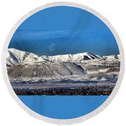 Moon Over The Snow Covered Mountains Round Beach Towel
