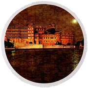 Moon Over Udaipur Painted Version Round Beach Towel
