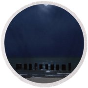 Moon Over Waters Round Beach Towel