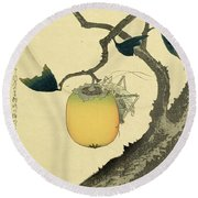 Moon Persimmon And Grasshopper Round Beach Towel
